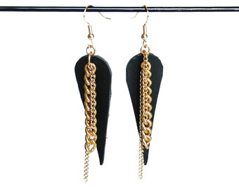 Black Leather and Chain Earrings