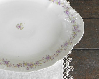 Large Antique Oval Platter White with Purple Flowers N D & Co Carlsbad China Austria early 1900s Serving Dining Home Decor Wedding Gift