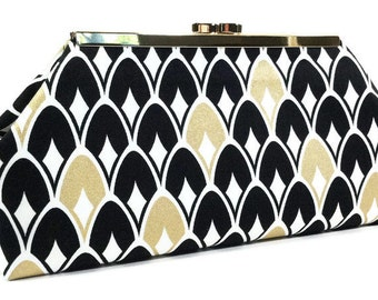 Clutch Bag Purse - Gold, Black, and White Scallops