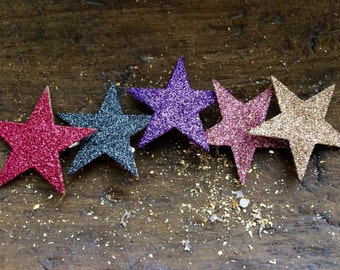 Single Star glass glitter pink purple gray gold hair clip YOU PICK COLOR mix & match and make your own custom hair clip using one or more