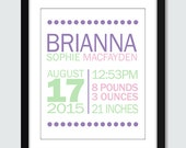 Mixed Modern Dots Birth Announcement Wall Art - 8x10 Baby Nursery Children Personalized Wall Print Poster