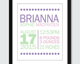 Mixed Modern Dots Birth Announcement Wall Art - 8x10, 5x7 Baby Nursery Children Personalized Wall Print Poster