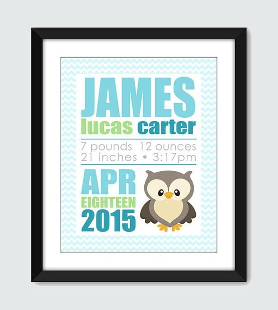 Owl Birth Announcement Wall Print. Nursery Decor Poster Gift. Baby Birth Announcement. Baby, Children Wall Print Poster by mateo & tobias