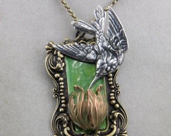 Hand Made Hummingbird On A Tulip Flower Garden Necklace