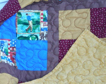GOLF THEME QUILT in Gold, Brown, Red, and Blue just right for a Man in his cave or recliner 54 x 74 inches
