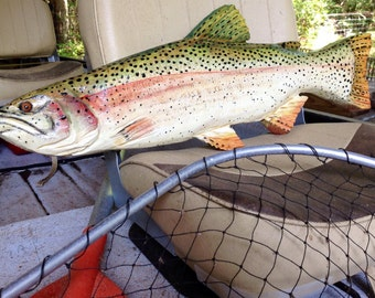 """Rainbow Trout 24"""" Sport fishing wood chainsaw trout carving lake lodge game fish taxidermy original woodworking gift wall art"""