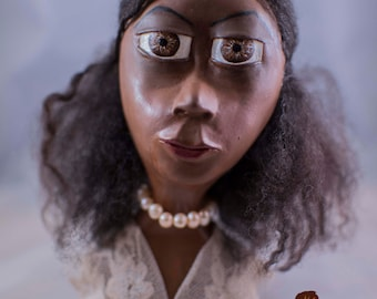One of a Kind Handmade Paper Clay Doll Bust, Antoinette by Melandolly