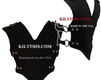 Interchangeable Black 10oz Canvas Vest Handmade Custom Fit Adjustable Interchange Collect All Sizes Hidden Pockets