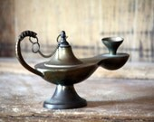 Vintage Brass Incense Burner Genie Lamp / Made in India