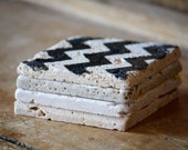 Black Chevron Coasters Set of 4 - Natural Tumbled Marble, Hand Painted Home Decor