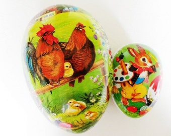 """2 Paper Mache Egg Candy Containers ~ Vintage Echt Erzgebirge Germany 7"""" & 4 1/2"""""""