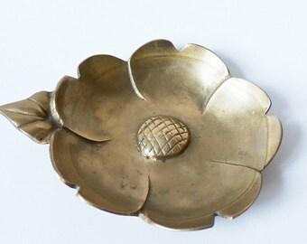 Brass Magnolia Flower Trinket Dish Vintage