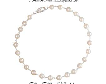 The Talia Necklace - Creamy Crystal Pearls 18 inch necklace Formal, casual, Bride, wedding