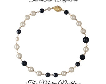 The Maire Necklace  Black and Cream Crystal Pearl Necklace - 18 inches, Gold, magnetic clasp with rhinestones