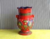 "Vintage West German Pottery Handled Vase In Red and Deep Blue with the Floral Decor ""Napoli"" By BAY Keramik"