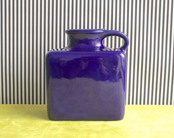 RARE Mid Century Modern West German Studio Pottery Handled Vase in Deep Electric Blue by Gräflich Ortenburg