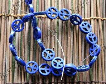 15inch 15mm Single peace Dyed symbol turquoise gemstone beads,Turquoise nugget jewelry, Gemstone Bead loose beads,turquoise findings beads