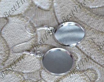2pair 12-25mm platina tone Earwires Hook With Round Cabochon Pad,Flower Earrings hook,earrings finding base