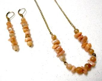 Sunstone Jewelry Set, Sunstone Earrings, Sunstone Necklace, Gemstone Necklace