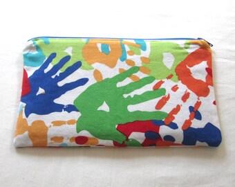 Handprint Fabric Zipper Pouch / Pencil Case / Make Up Bag / Gadget Sack