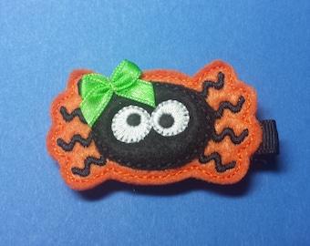 """Halloween Felt Hair Clip """"Bitsy Spider""""  - For Infant Toddler Girl"""