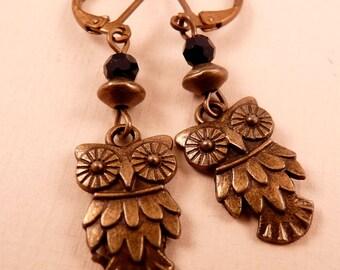 Owl Earrings Owl Jewelry Crystal Earrings Crystal Jewelry Silver Jewelry Beaded Earrings Beaded Jewelry Bird Jewelry