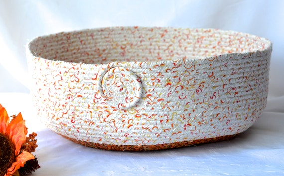 Fall Decorative Basket, Handmade Autumn Gift Basket, Lovely Beige Fabric Bowl, Candy Bowl, Cat Bed,, Pet Bed Furniture, Storage Organizer