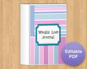 Complete Weight Loss and Fitness Journal in Pink, 8 page, EDITABLE PDF