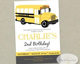 SCHOOL BUS INVITATION   Boys Birthday, Party Bus, Yellow Bus, Back to School   Instant Download pdf