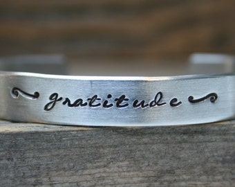 Bracelet Gratitude Hand Stamped Cuff Silver Aluminum Metal Heart Stamp Inspirational Jewelry Motivational Inspiring Words Quote