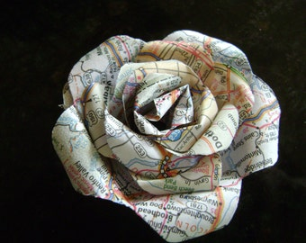 vintage atlas map recycled paper rose travel destination journey wedding single long stemmed