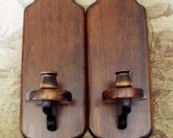 Rustic Shabby Sconces Candle Holders Stained Wood  Large Vintage Pair Set Wall Decor