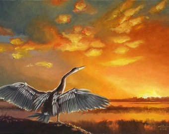 Anhinga painting by RUSTY RUST wildlife bird sunset 30x40 oils on canvas / A-124