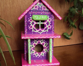 Two Story Birdhouse Handpainted/ Purple Pizzaz with Pink Roof/ Floral Designs/Accent Colors/ Light Green/ White/ Pink/ Fun Architecture