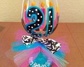 Aqua, pink and black 21st birthday wine glass