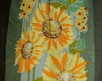 Vintage Afghan Hand Knit with Large Crewel Sunflowers Green Yellow and Orange Afghan with Long Fringe