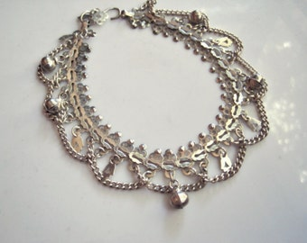 Old Middle East Anklet, Sterling Silver Foot Bracelet, Hand of Fatima, Ethnic Jewelry, Belly Dance Jewelry