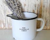 SALE! Vintage Enamelware Dutch Pitcher, Enamel Measuring Cup