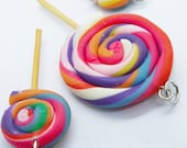 3 Lollipops Miniature Polymer Clay Foods Supplies Candy for Beaded Jewelry Charm