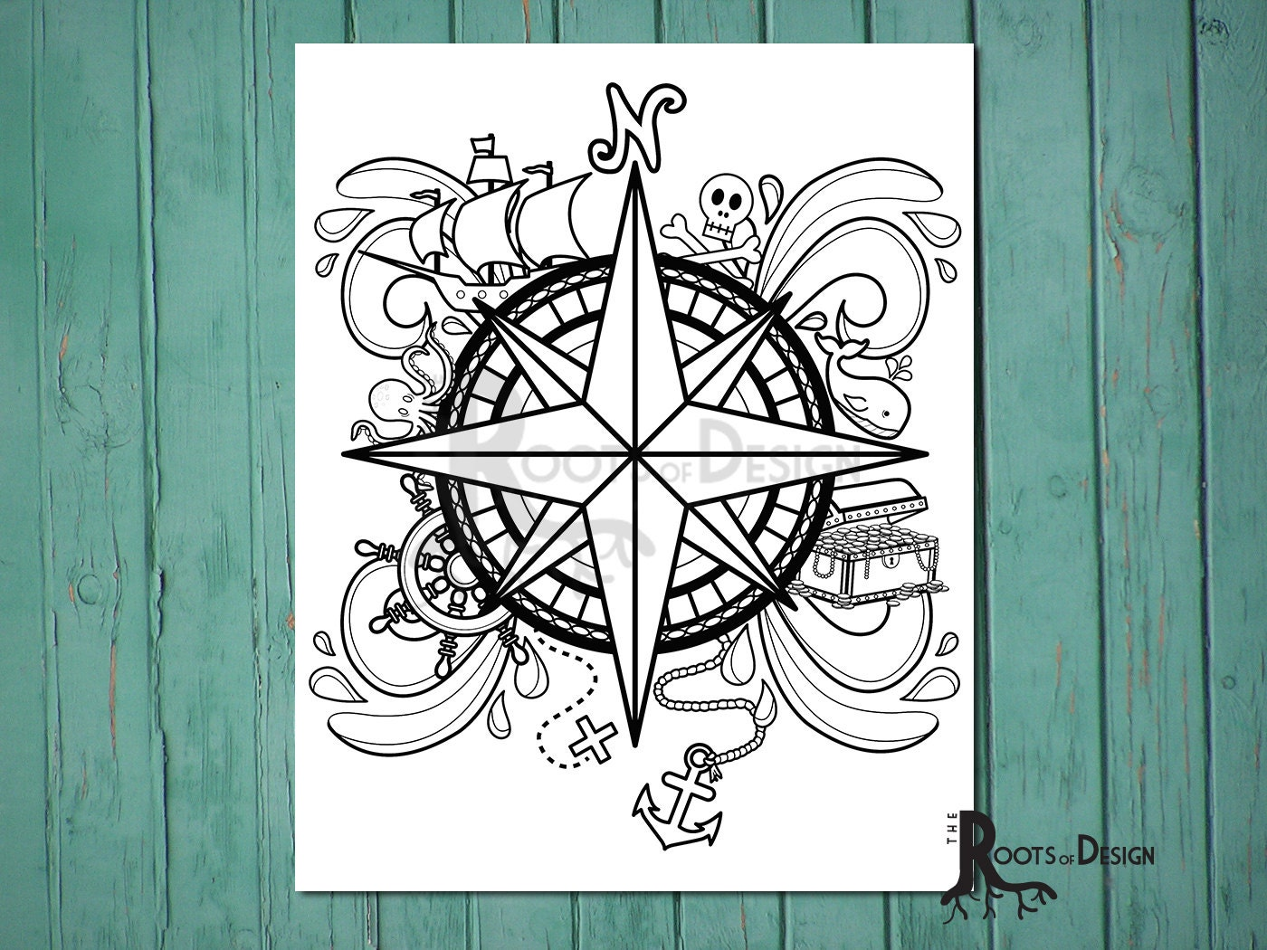 INSTANT DOWNLOAD Coloring Page Pirate Compass Design doodle