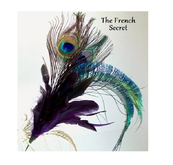 Christmas peacock feather spray ornament topper decoration