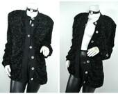 80s Yves Saint Laurent Rive Gauche YSL black fuzzy tinsel Jewel Cardigan sweater