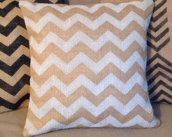 Modern Burlap Chevron Pillow Cover, Chevron Rustic Burlap Pillow in White  by sweet janes plan