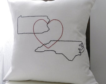 Personalized Map and Heart Pillow Cover. State or Country Map. Love. Wedding Gift. Destination Wedding. Vacation Home. Gift for Friend.