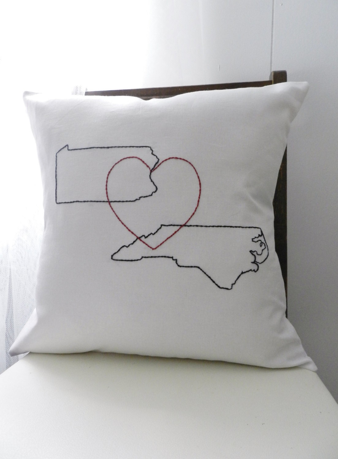 Personalized Butterfly Heart Throw Pillow Cover : Personalized Map and Heart Pillow Cover. State or Country Map.