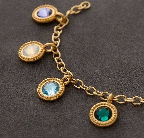 items similar to charm bracelet gold birthstone