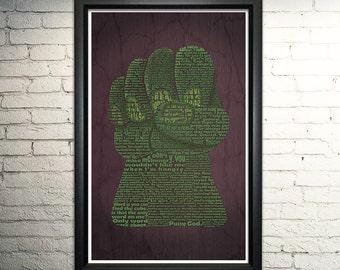 "Hulk word art Print -11x17"""