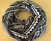 Jersey knit infinity scarf - black and white Aztec