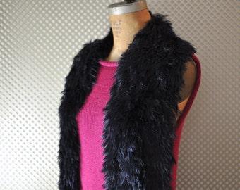 Easy Knitting Pattern Faux Fur Black Scarf