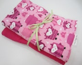 Burp Cloths, Set of 2, Flannel and Terry Cloth, Large, Pink, Owls